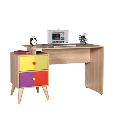 Rainbow Genç Odası 2 Çekmeceli Çalışma Masası - Sonoma-Karışık - Thumbnail