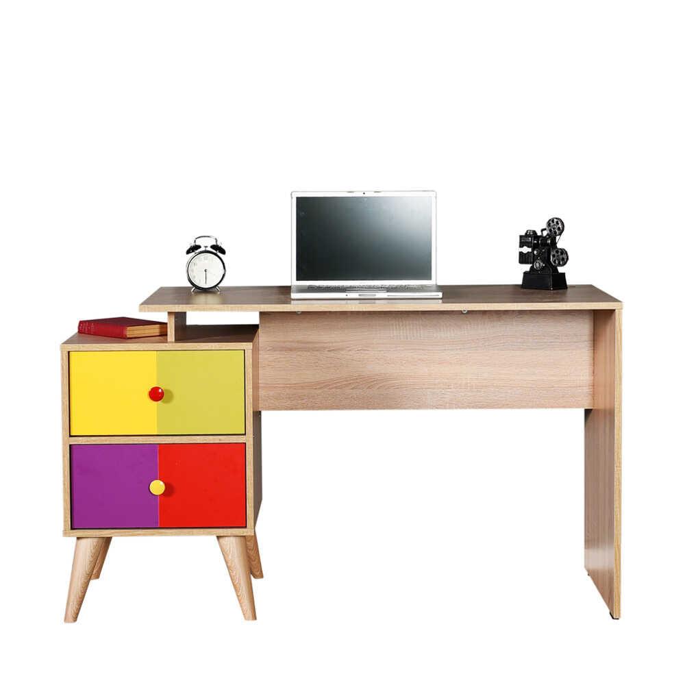 Rainbow Genç Odası 2 Çekmeceli Çalışma Masası - Sonoma-Karışık