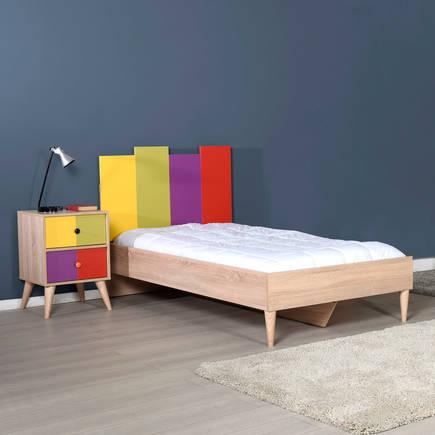 ADORE MOBILYA - Adore Rainbow Genç Odası Tek Kişilik Karyola KRY-920-SX-2 Sonoma-Karışık