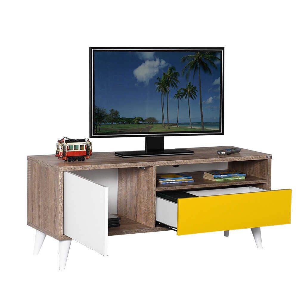 Retro Çekmeceli Tv Sehpası Latte-Sarı-Diamond Beyaz