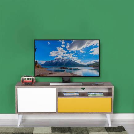 Retro Çekmeceli Tv Sehpası Latte-Sarı-Diamond Beyaz - Thumbnail