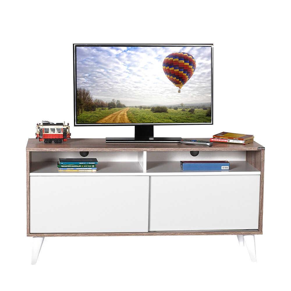 Retro Slide Tv Sehpası Latte-Diamond Beyaz