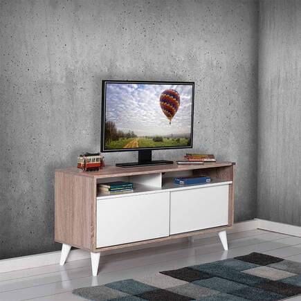 Retro Slide Tv Sehpası Latte-Diamond Beyaz - Thumbnail