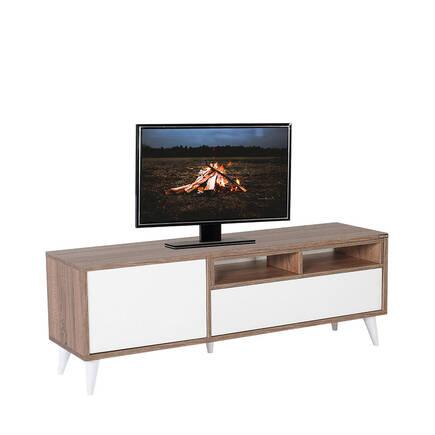 Adore Mobilya - Retro Wide Kapaklı Çekmeceli Tv Sehpası Latte-Diamond Beyaz