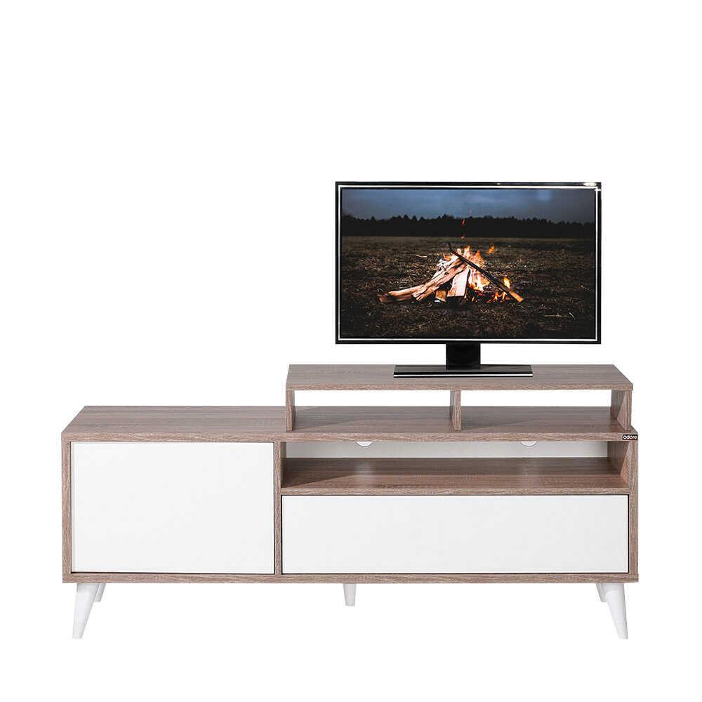 Retro Wide Kapaklı Çekmeceli Tv Sehpası Latte-Diamond Beyaz