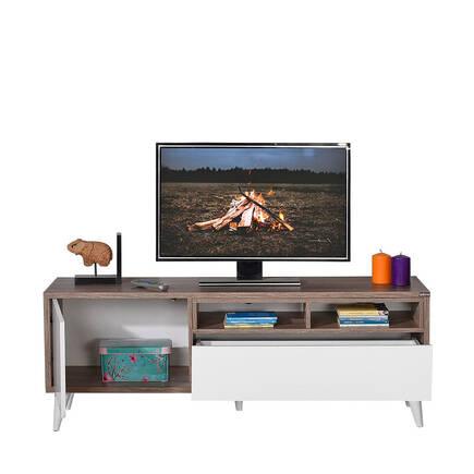Retro Wide Kapaklı Çekmeceli Tv Sehpası Latte-Diamond Beyaz - Thumbnail