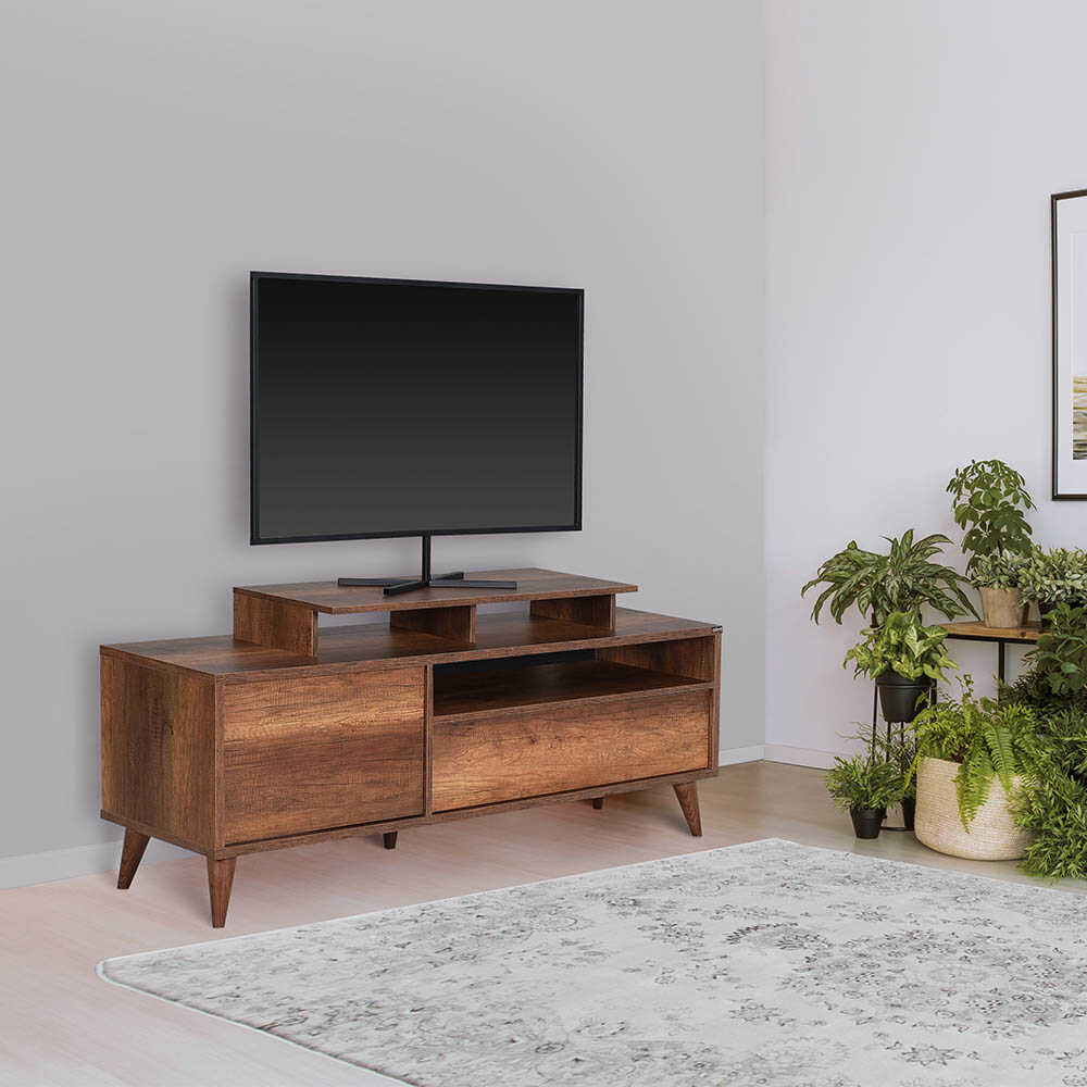Retro Wide Kapaklı Çekmeceli Tv Sehpası-Oslo Ceviz