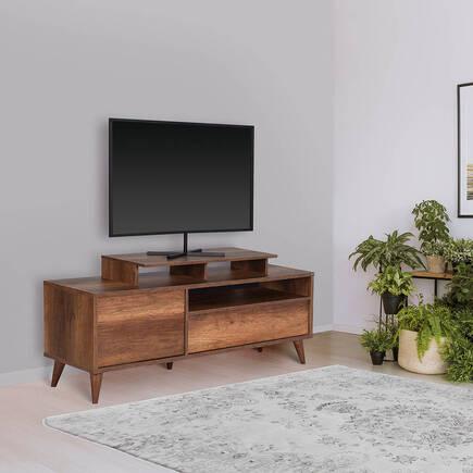 Retro Wide Kapaklı Çekmeceli Tv Sehpası-Oslo Ceviz - Thumbnail