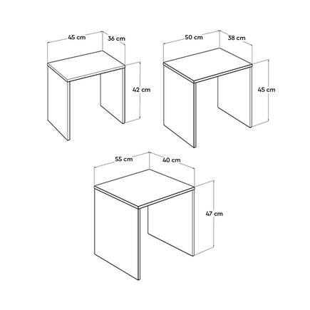 Triple Zigon Sehpa - Mor - Thumbnail