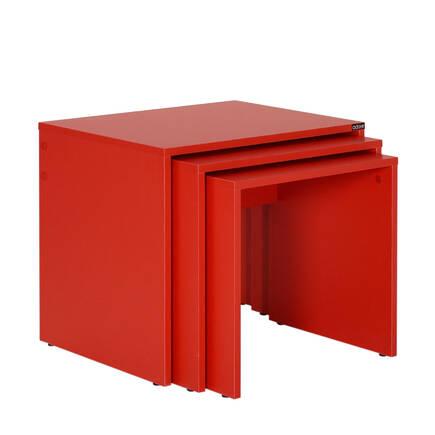 Adore Mobilya - Triple Zigon Sehpa - Kırmızı