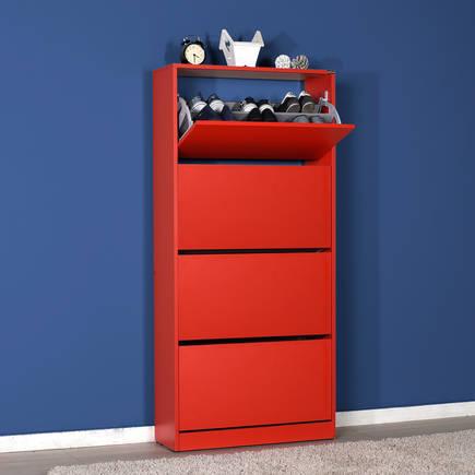 Adore Mobilya - Adore Flat Duo 4 Katlı Geniş Ayakkabılık Dolabı SHC-540-KK-1 Kırmızı