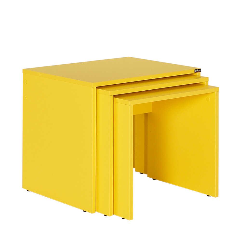 Trıple Zigon Sehpa - Sarı