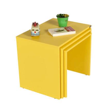 Trıple Zigon Sehpa - Sarı - Thumbnail
