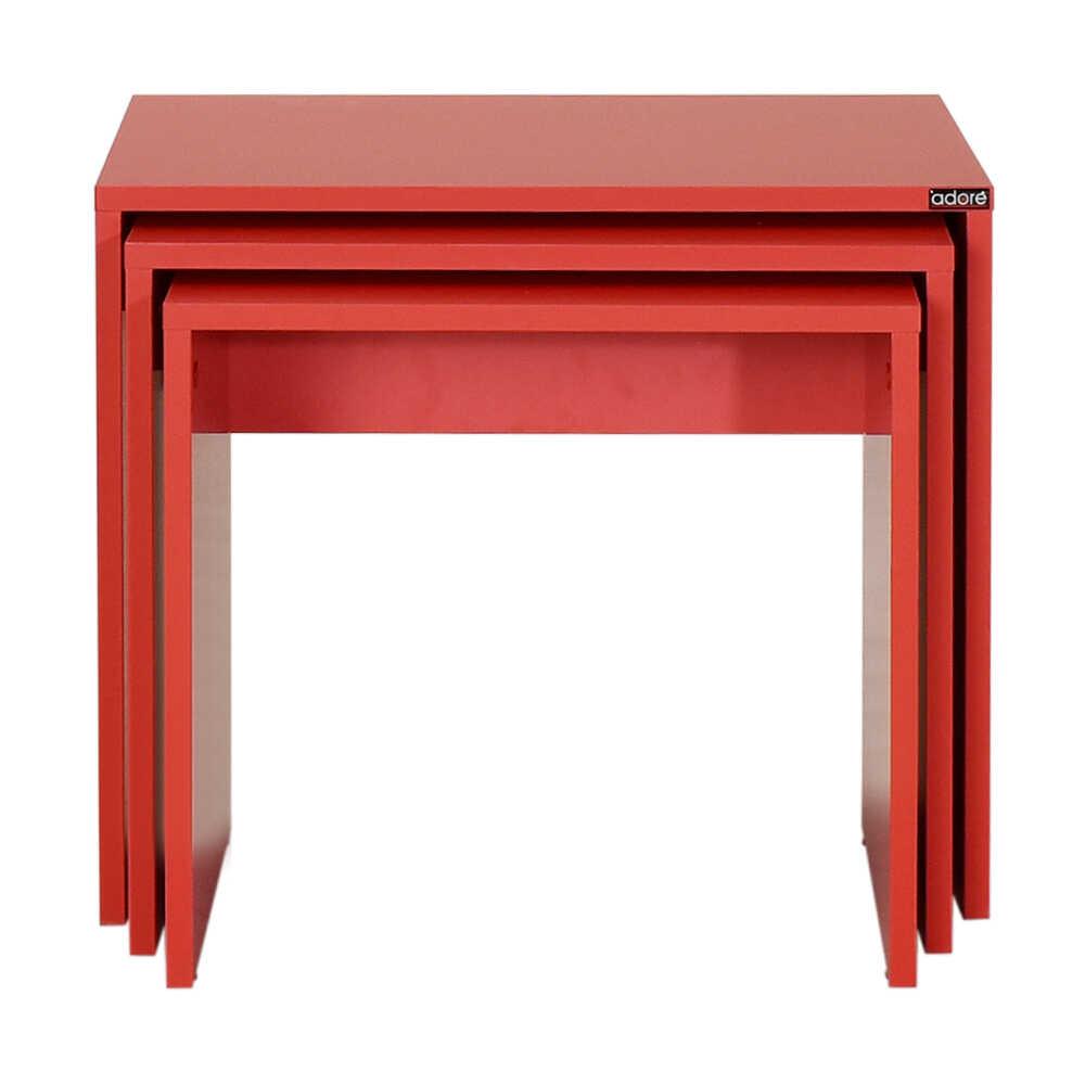 Triple Zigon Sehpa - Kırmızı