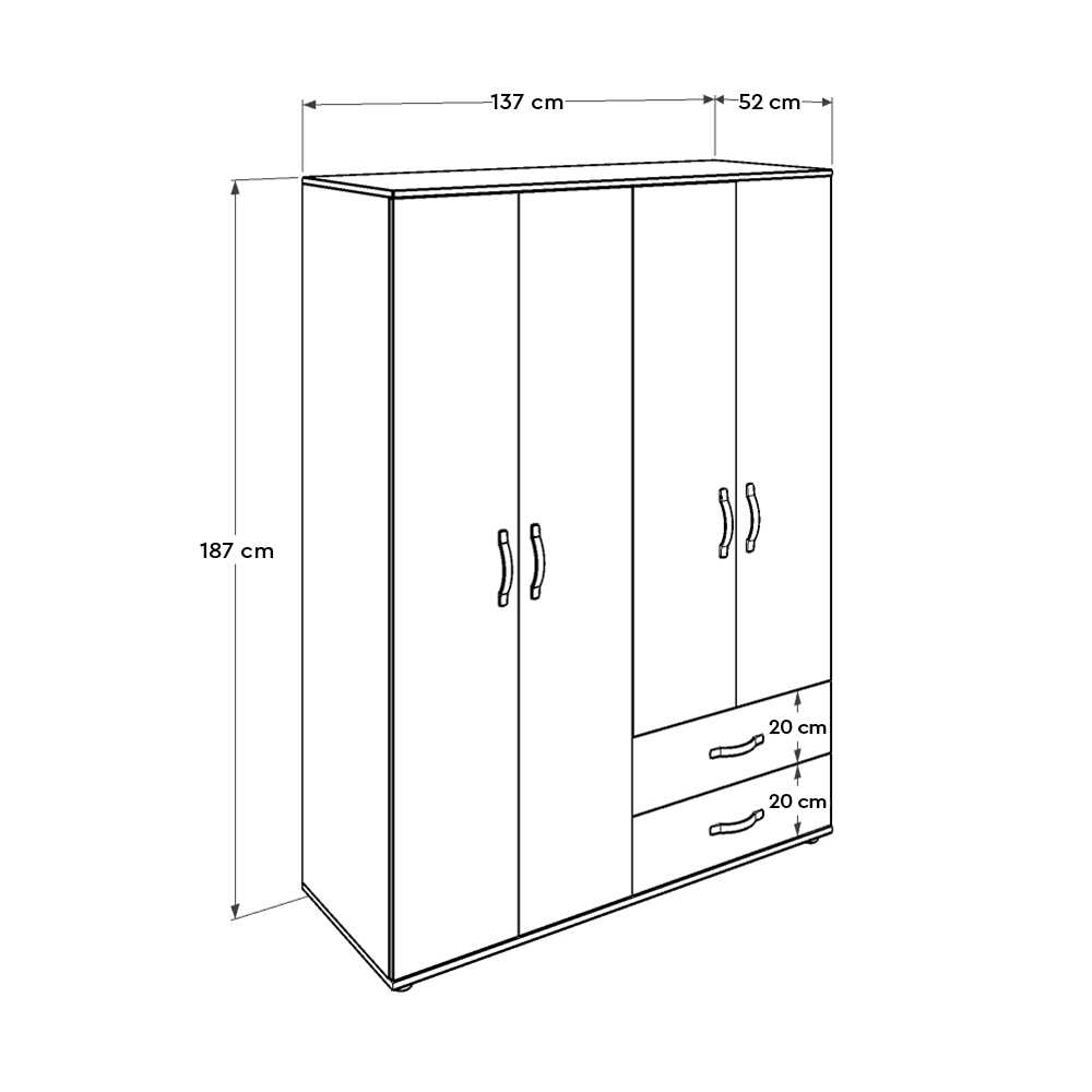 Dinamik Genç Odası 4 Kapı İki Çekmeceli Gardırop - Zara