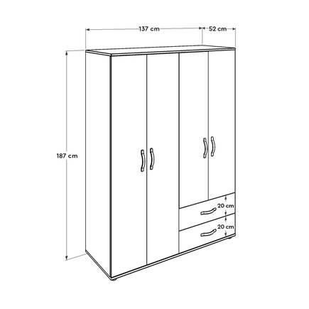 Dinamik Genç Odası 4 Kapı İki Çekmeceli Gardırop - Zara - Thumbnail