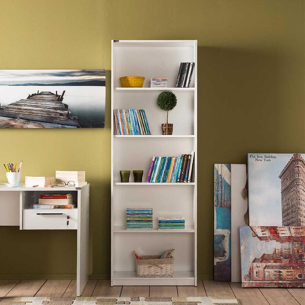 Modern 5 Raflı Kitaplık - Lake Beyaz