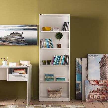 Modern 5 Raflı Kitaplık - Lake Beyaz - Thumbnail