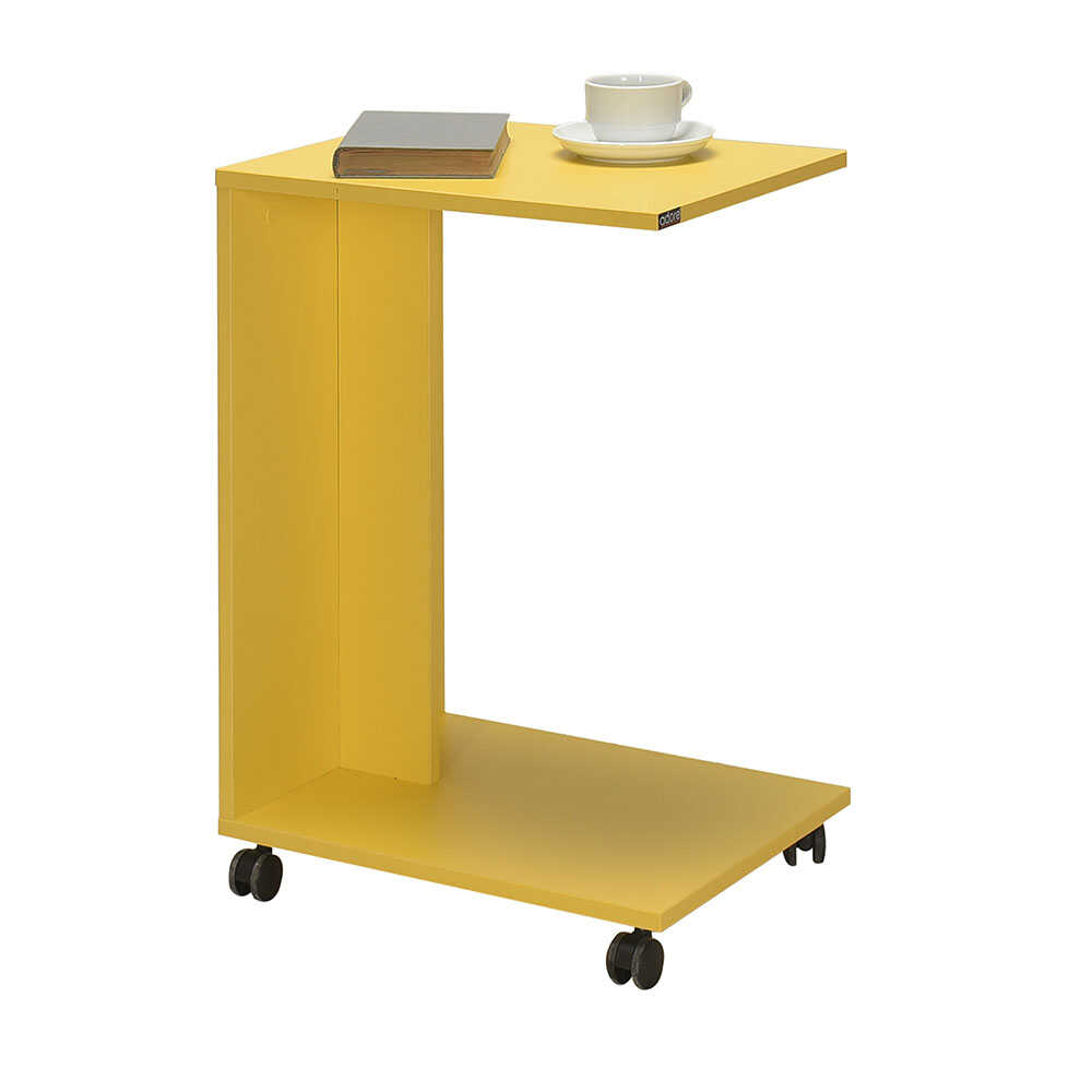 Çok Amaçlı Tekerlekli C Koltuk Sehpası - Sarı