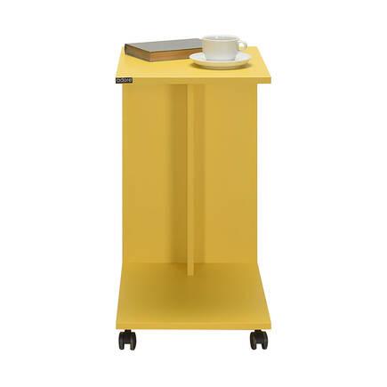 Çok Amaçlı Tekerlekli C Koltuk Sehpası - Sarı - Thumbnail