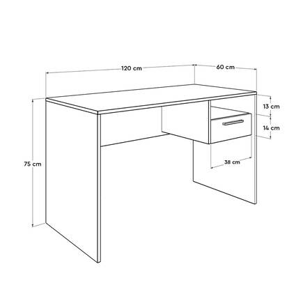 Concept Kilitli Çekmeceli Çalışma Masası - Diamond Beyaz - Thumbnail