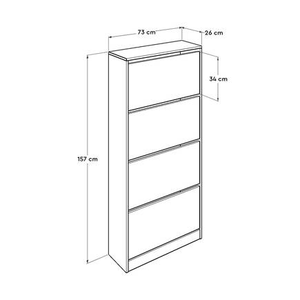 Flat Duo 4 Katlı Geniş Ayakkabılık Dolabı - Beyaz - Thumbnail