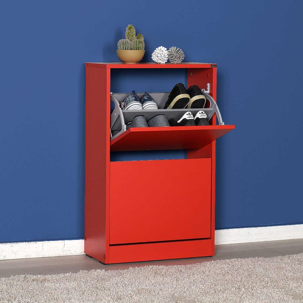 Flat Duo 2 Katlı Ayakkabılık Dolabı - Kırmızı