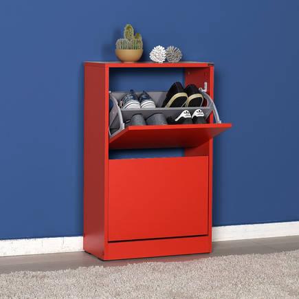 Flat Duo 2 Katlı Ayakkabılık Dolabı - Kırmızı - Thumbnail