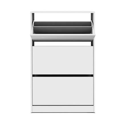 Flat Duo 3 Katlı Geniş Ayakkabılık Dolabı - Beyaz - Thumbnail
