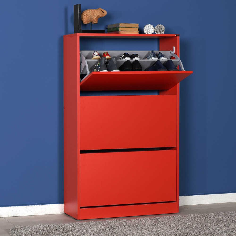 Flat Duo 3 Katlı Geniş Ayakkabılık Dolabı - Kırmızı