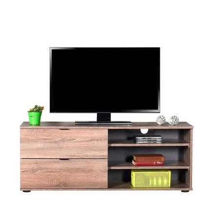 Flat Line Plus İki Çekmeceli Üç Bölmeli Tv Sehpası - Latte - Thumbnail