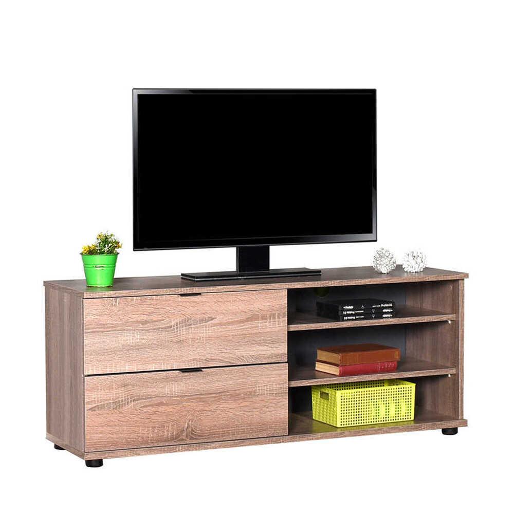 Flat Line Plus İki Çekmeceli Üç Bölmeli Tv Sehpası - Latte