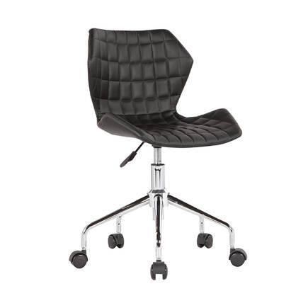 Adore Mobilya - Handy Mate Retro Çalişma Sandalyesi - Siyah Suni Deri