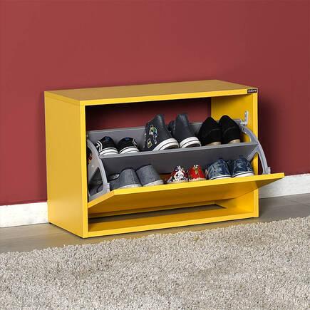 New Step Oturaklı Ayakkabılık - Sarı - Thumbnail