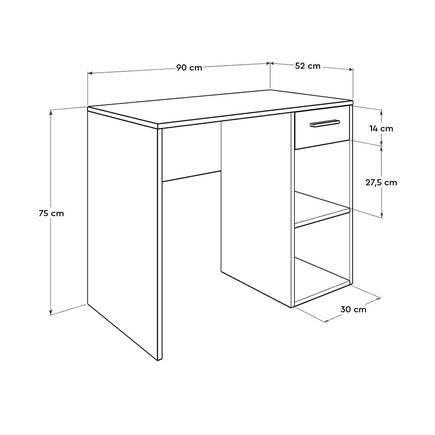 Trendline Çekmeceli Çalışma Masası - Beyaz - Thumbnail